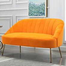 Nubuck Velvet Bucket Style 2 Seater Sofa, Yellow