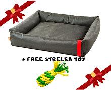NUF NUF Dog Bed Bobbie Dark Grey with FREE Strelka
