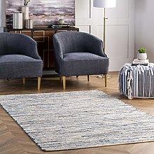 nuLOOM Area Rug, Cotton, Blue, 6' x 9'