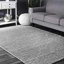 nuLOOM Contemporary Braided Area Rug, Light Grey