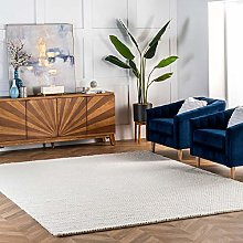 nuLOOM Contemporary Braided Area Rug, Off White