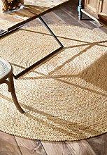 nuLOOM Jute Braided Round Rug, Natural (6'