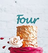 Number Four Large Cake Topper - Light Blue - 4th