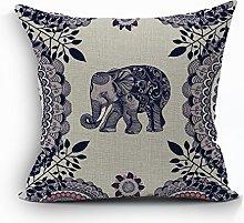Nunubee Vintage Elephant Cotton Pillowcase Linen