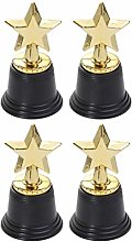 NUOBESTY 4pcs Star Gold Award Trophy Gold Star
