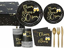 NUOBESTY 89pcs Black and Gold Party Supplies