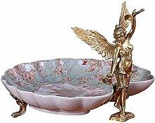 Nuokix Bowl Fruit Plate Ceramic Copper Decorative