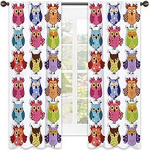 Nursery Blackout curtain, Set of Cartoon Owls with