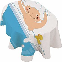 Nursery Oval Tablecloth,Baby Boy with Smiley Face
