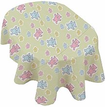 Nursery Oval Tablecloth,Baby Toy Drawing Pattern