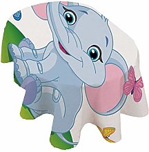 Nursery Oval Tablecloth,Cute Baby Elephant Sitting