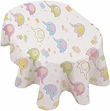 Nursery Oval Tablecloth,Cute Baby Elephants in