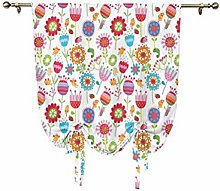 Nursery Roman Curtain,Floral Arrangement with Many