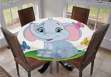 Nursery Round Tablecloth,Cute Baby Elephant