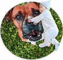 Nursery Rug Animal Dog Brown Round Play Mats for