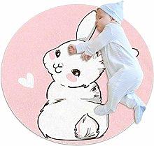Nursery Rug Cute Little White Rabbit Baby Crawling