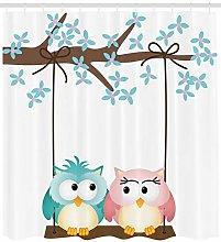Nursery Shower Curtain Owls In Love on Swing Print