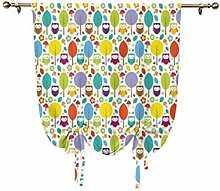Nursery Small Window Curtain,Colorful Forest with