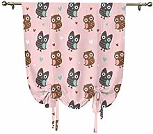 Nursery Small Window Curtain,Lovely Owls with