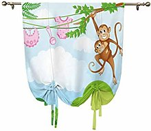 Nursery Tie Up Curtain Panels,Monkey Swinging with