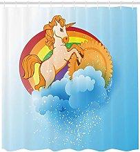 Nursery Unicorn Shower Curtain Geometry Decor