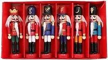 Nutcrackers 6Pcs/set Christmas Doll Soldier Wood