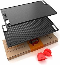 NutriChef Cast Iron Reversible Grill Plate - 18