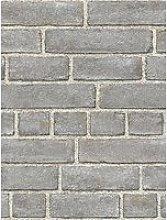Nuwallpaper Brick Façade Grey Stick On Wallpaper