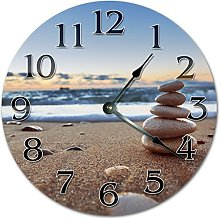 NVBFH43545 Balance Stones On The Beach Wooden Wall