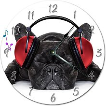NVBFH43545 Black French Bulldog With Headphones