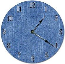 NVBFH43545 Blue Denim Pattern Wooden Wall Clock