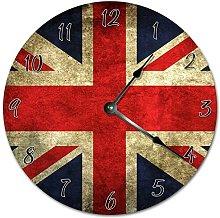 NVBFH43545 Cool Union Jack Flag Wooden Wall Clock