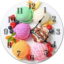 NVBFH43545 Ice Cream And Fruits On Plate Wooden
