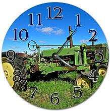 NVBFH43545 Old Rusty Tractor On Field Wooden Wall