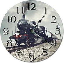NVBFH43545 Old Steam Train Wooden Wall Clock