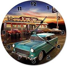 NVBFH43545 Retro Diner Wooden Wall Clock Silent