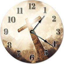 NVBFH43545 The Holy Cross Wooden Wall Clock Silent