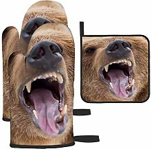 nxnx Brown Bear Roaring In Forest Potholder grill