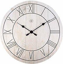nXt Wall clock-Ø 40 cm-Wood-White-'Paul',