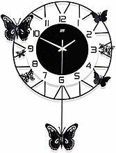 NXYJD Black Decorative Wall Clock, Silent Pendulum
