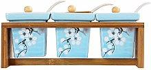 NXYJD Ceramic Bamboo Spice Jar Ceramic Double Tube
