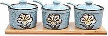NXYJD Set Of 3 Flower Embossed Ceramic Food