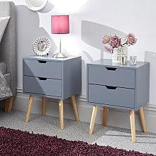 Nyborg Dark Grey Wooden Bedside Cabinet In Pair