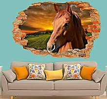 NYJNN 3D Wall Stickers Beautiful Sunset Race Horse