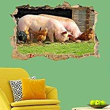 NYJNN 3D Wall Stickers Farm Animals Pigs Chickens