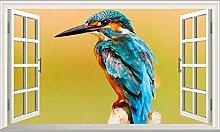 NYJNN 3D Wall Stickers Kingfisher 3D Magic Window