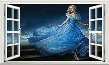 NYJNN Princess Magic Window Wall Art Self Adhesive