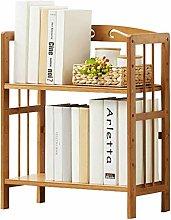 NYKK Bookcases Adjustable Natural Bamboo Desktop
