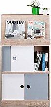 NYKK Bookshelf White Freestanding Bookcase2 Tier