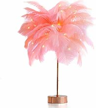 NYKK Desk Lamp Feather Lamp Pink Table Lamp For